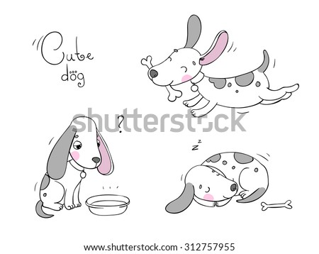 Funny cartoon dogs with a bone on white background. Hand drawn vector - stock vector