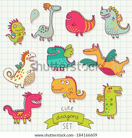 Funny cartoon dragon set in vector. Bright fantastic characters - stock vector