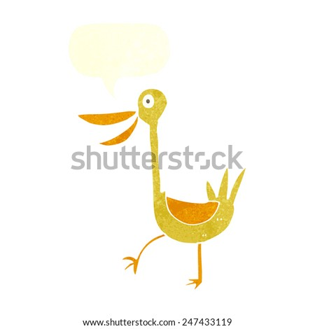 funny cartoon duck with speech bubble - stock vector