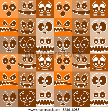 Funny cartoon emotions seamless pattern.