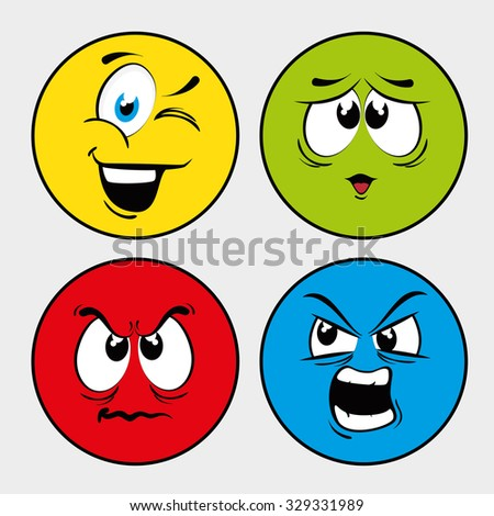 Funny cartoon face  graphic design, vector illustration.