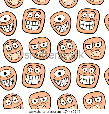Funny cartoon faces seamless pattern.
