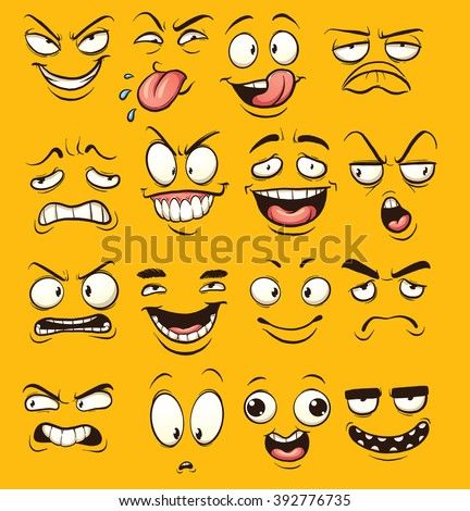 Funny cartoon faces. Vector clip art illustration with simple gradients. Each face on a separate layer. - stock vector