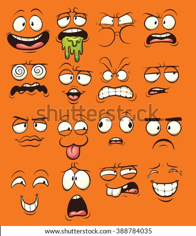 Funny cartoon faces. Vector clip art illustration with simple gradients. Each on a separate layer. - stock vector