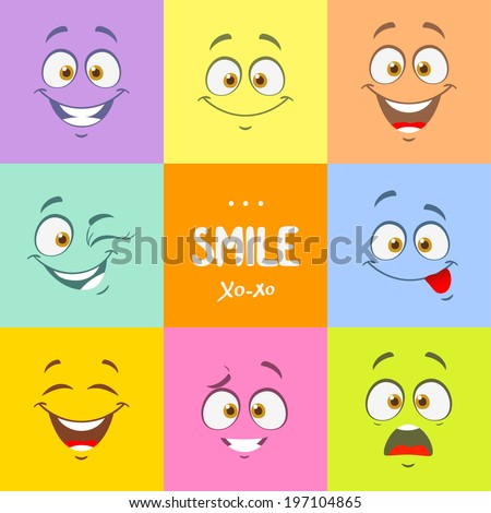 Funny cartoon faces with emotions on bright colored background - stock vector