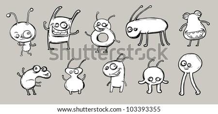 Funny cartoon fantastic creatures - stock vector