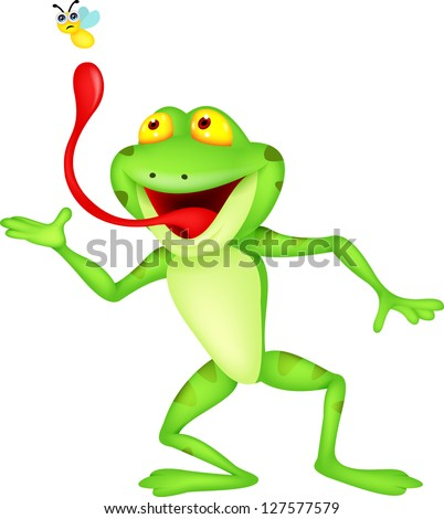 funny cartoon frog catching fly - stock vector