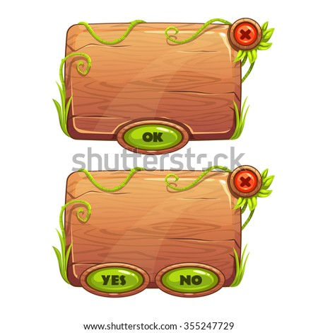 Funny cartoon game panels in jungle style, wooden gui elements, vector isolated games assets - stock vector