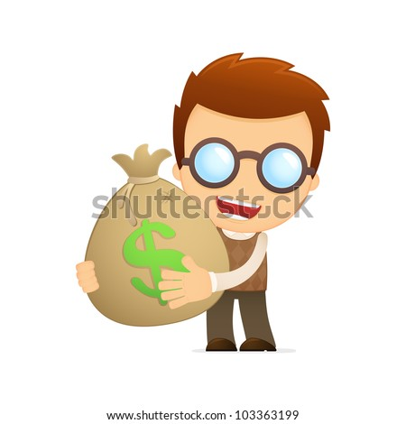 funny cartoon genius in various poses for use in advertising, presentations, brochures, blogs, documents and forms, etc. - stock vector