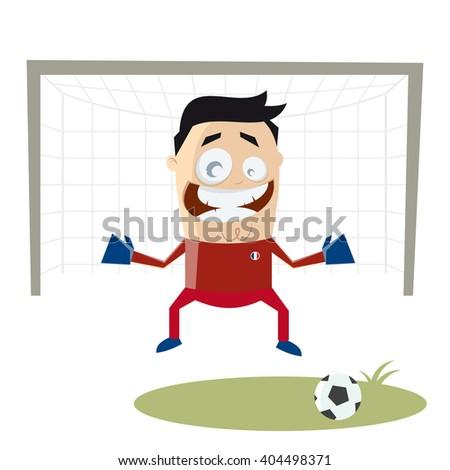 funny cartoon goalkeeper - stock vector