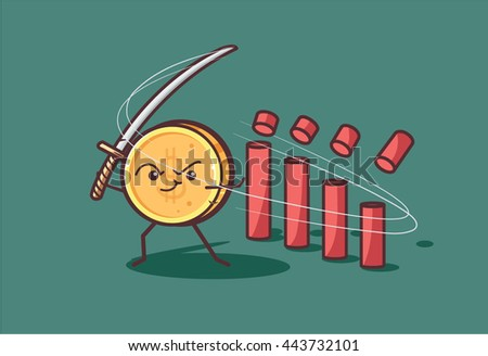 Funny cartoon gold dollar cuts Japanese candlesticks at the currency trade market. Can be used as an illustration to finance market and currency market analytics overviews and articles. - stock vector