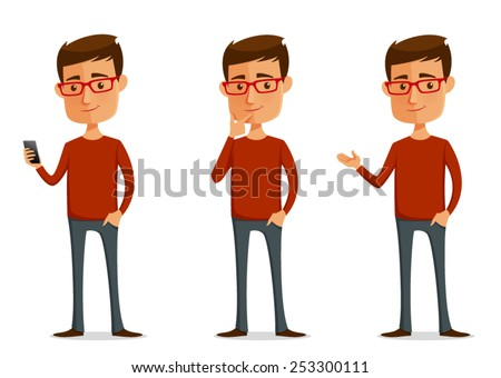 funny cartoon guy with glasses in various poses - stock vector