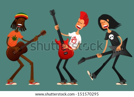 funny cartoon guys playing guitar and singing passionately - stock vector
