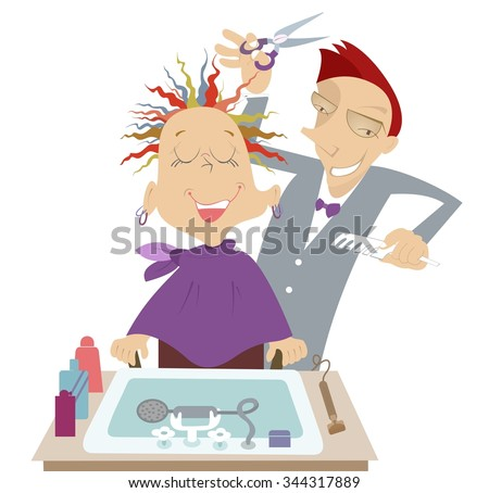 Funny cartoon hairdresser makes to woman a stylish haircut  - stock vector