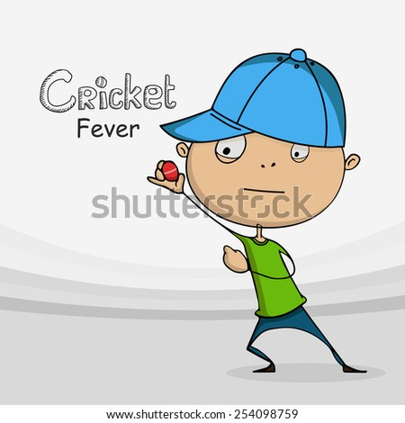 Funny cartoon holding red ball for Cricket sports concept. - stock vector
