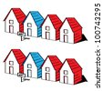 Funny cartoon houses in a row, sale and rent concept, real estate collection, vector illustration - stock vector