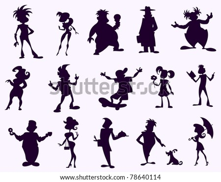 Funny cartoon human figures in black silhouette