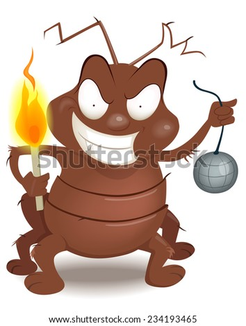 funny cartoon  illustration of a bug in the programming code - vector - stock vector