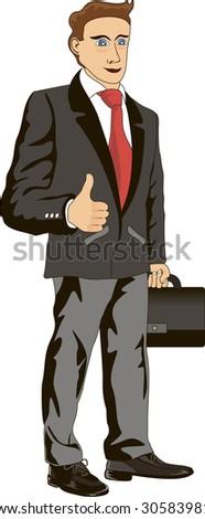 Funny cartoon illustration of a smiling businessman - stock vector