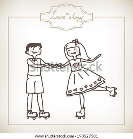funny cartoon illustration of a young couple rollerblade - stock vector