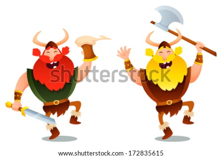 funny cartoon illustration of happy viking warriors - stock vector