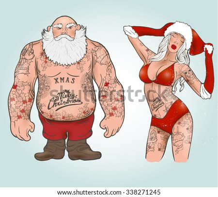 Funny cartoon illustration of mighty Santa Claus chest with Christmas tattoos with greeting. Tattoo salon - stock vector