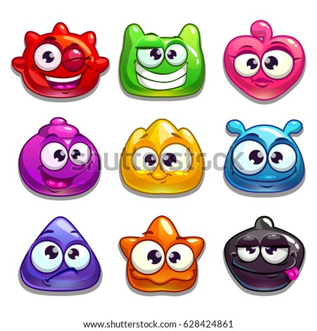 Funny cartoon jelly characters, isolated on white. Vector illustration.