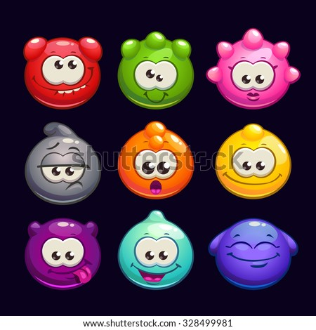Funny cartoon  jelly round characters set, vector illustration, funny creatures kit for game design - stock vector