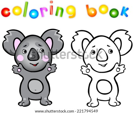Funny cartoon koala coloring book. Vector illustration for child