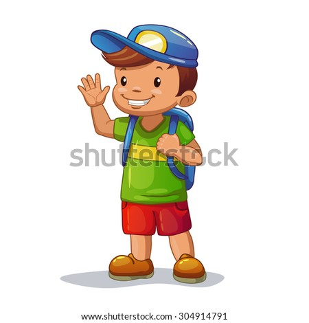Funny cartoon little boy with school bag is waving his hand, isolated vector - stock vector