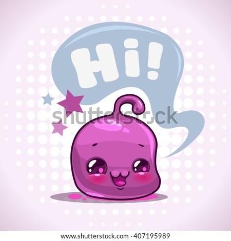Funny cartoon little purple kawaii character with speech bubble, vector illustration, childish print for kids t shirt design - stock vector
