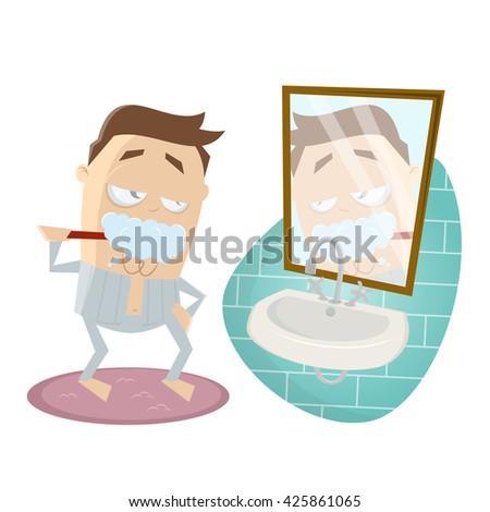 funny cartoon man brushing his teeth - stock vector