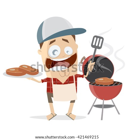 funny cartoon man with steaks and grill - stock vector