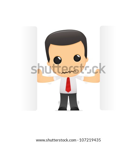 funny cartoon manager in various poses for use in advertising, presentations, brochures, blogs, documents and forms, etc. - stock vector