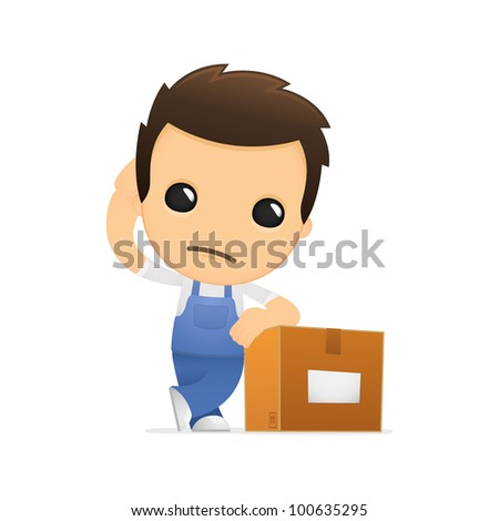 funny cartoon mechanic in various poses for use in advertising, presentations, brochures, blogs, documents and forms, etc. - stock vector