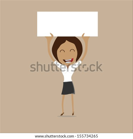 funny cartoon office woman in various poses for use in presentations - stock vector