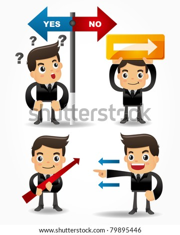 funny cartoon office worker icon set with arrow board - stock vector