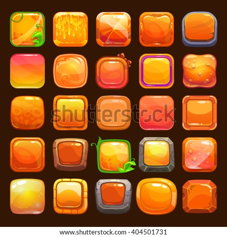 Funny cartoon orange buttons collection, vector assets for game or web design - stock vector