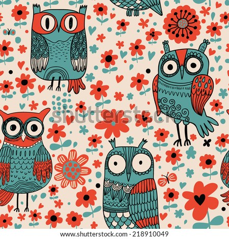 Funny cartoon owls. Seamless pattern can be used for wallpapers, pattern fills, web page backgrounds, surface textures. Cute vector wallpaper - stock vector