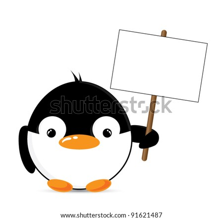 Funny cartoon penguin holding a blank sign, vector illustration