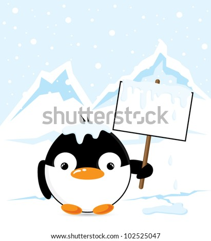 Funny cartoon penguin on the South Pole holding an empty sign, vector illustration