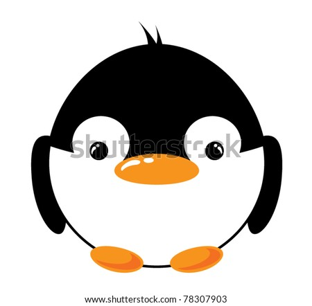 Funny cartoon penguin on the white background, vector illustration - stock vector