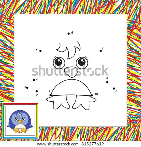 Funny cartoon penguin. Vector illustration for children. Dot to dot game - stock vector