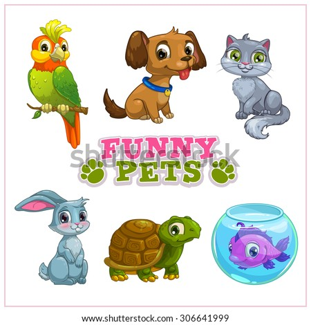 Funny cartoon pets collection, vector isolated zoo icons - stock vector