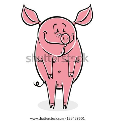 Funny cartoon pig, vector illustration. - stock vector