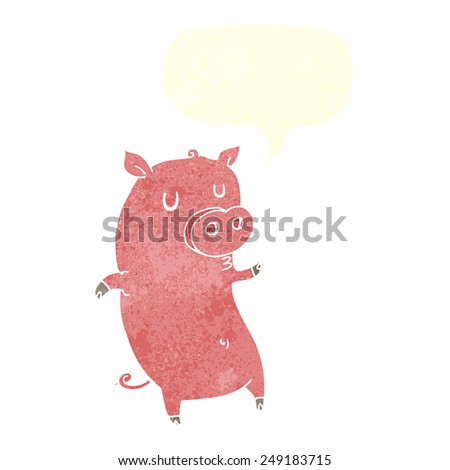funny cartoon pig with speech bubble - stock vector