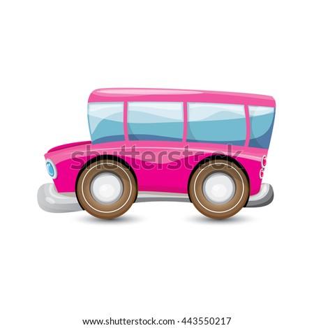 funny cartoon pink school bus isolated stock vector hd royalty free rh shutterstock com Pink Balloons Clip Art Cool School Bus Clip Art