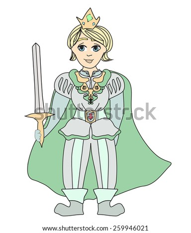 Funny cartoon prince on white background - stock vector