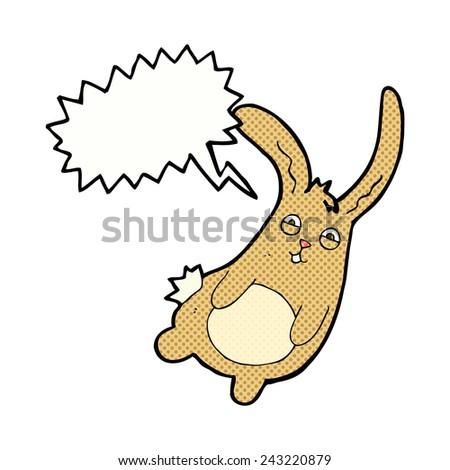 funny cartoon rabbit with speech bubble - stock vector