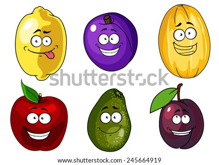 Funny cartoon red apple, purple plum, yellow melon and lemon, green avocado fruits for healthy nutrition concept or vegetarian menu design  - stock vector